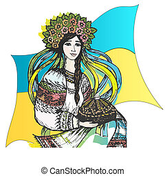 Vector graphic, artistic, stylized image of Ukraine, welcome!