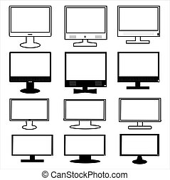 Vector graphic. Black and white monitor icon set