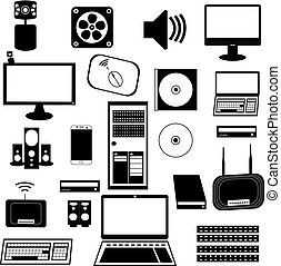 Vector graphic. Computer set black and white icon