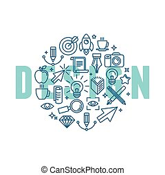 Vector graphic design concept in linear style - icons and...