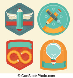 Vector graphic design emblems and icons