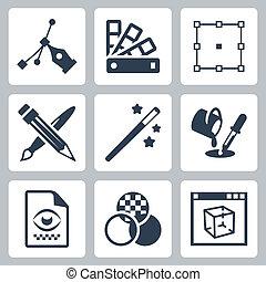 Vector graphic design icons set