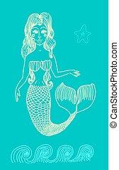 Mermaid with long curly hair.