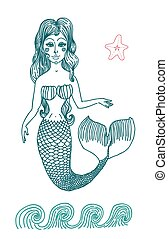 Mermaid with long curly hair. - Vector graphic drawing fairy...