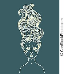 Vector graphic drawing  fairy Mermaid with long curly hair.