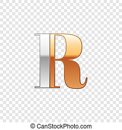 Vector graphic elegant silver and gold impossible font, symbol, alphabet, Letter R
