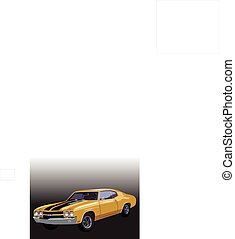Vector graphic illustration design of a old classic car, 1970 Chevrolet Chevelle SS 454.