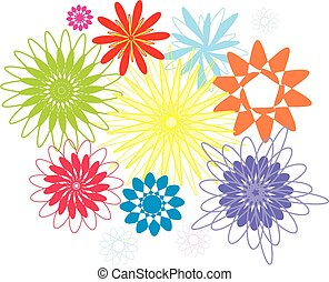 Vector graphic illustration of color flowers collection.