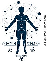 Vector graphic illustration of human, individuality created with mesh wireframe connections. Biochemistry scientific research.