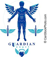 Vector graphic illustration of strong male, body silhouette...