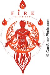 Vector graphic illustration of strong male, body silhouette standing. Fire person as bunch of the powerful energy covered with a fireball.