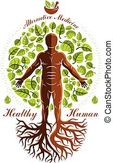 Vector graphic illustration of strong male depicted as ...