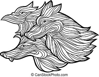 Vector graphic illustration of wolves isolated on white.