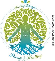 Vector graphic muscular human deriving from water wave and composed with green eco tree, self. Homeopathy creative illustration.
