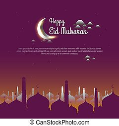 Vector graphic of Ramadan Kareem with  silhouette of Mosque