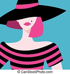 Vector graphic portrait of a beautiful girl in a hat. Beauty...