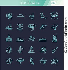Vector graphic set. Australian culture, animals, traditions....