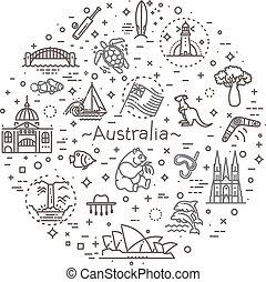 Vector graphic set. Australian culture, animals, traditions...