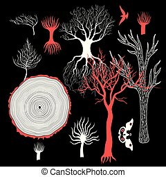 Vector graphic set of different trees