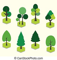 Vector graphic set  with Tree. 3D Clip Art