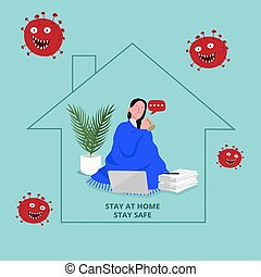 vector graphic stay at home perfect for social distancing ...