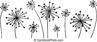 vector graphic with set of dandelions