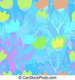 seamless pattern watercolor bouquet tulips