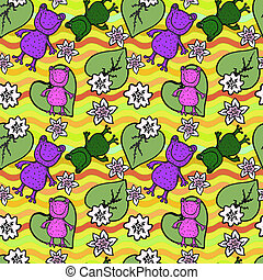frogs and flowers on the waves seamless pattern