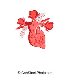 Vector graphics heart with flowers on a white background