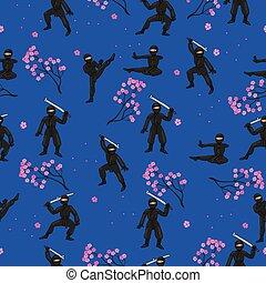 vector, graphics., ninja, negro, sakura., traje, seamless, patrón