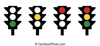 Vector graphics of traffic lights - stop go wait