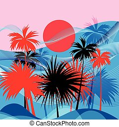 Vector graphics tropical landscape with palm trees and sun