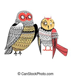 Vector graphics two funny owls isolated on white background
