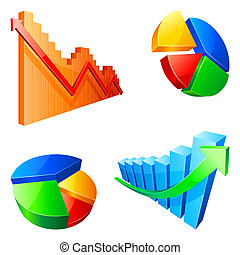 Vector graps and pies. - Colour vector graphs and pies,...