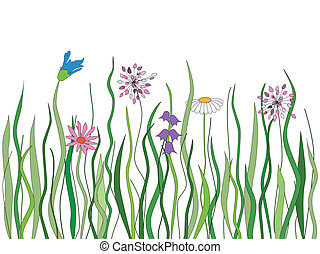 vector, gras, met, bloemen