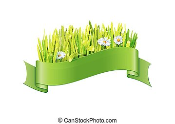 Vector grass and flowers in green ribbon