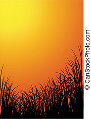 Vector grass silhouette background - sunset