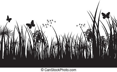 Vector grass silhouette background