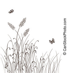 Vector grass silhouettes background - grass silhouettes...
