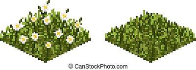 Vector grass tile in pixel art - Isolated vector grass tile ...