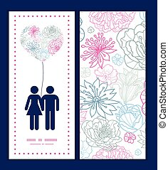 Vector gray and pink lineart florals couple in love...