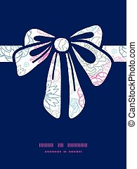 Vector gray and pink lineart florals gift bow silhouette...