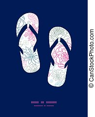 Vector gray and pink lineart florals flip flops silhouettes pattern frame