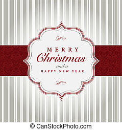 Vector Gray and Red Christmas Label