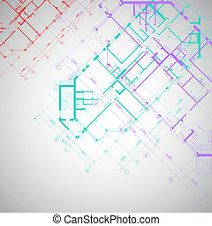 Vector gray architectural background with plans