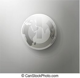 vector gray button with the globe
