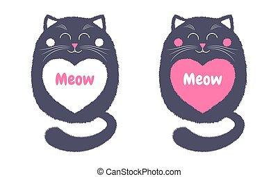 Vector Gray Cat in Cartoon Style. 4