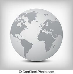 vector gray globe icon on soft background