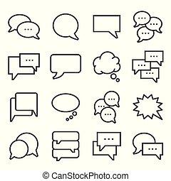 Vector gray line Speech bubbles icons set