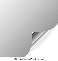Vector gray page with curled corner and shadow. Perfect for adding text, design. More in my gallery.